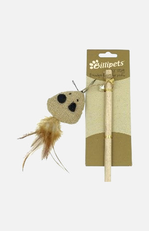 Natural Cat Dangler Mouse with Feather 40cm