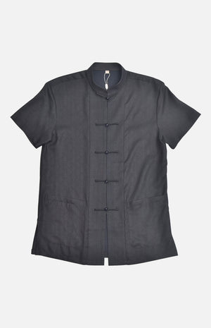Men's Silk Mandarin Collar S/S Top Black