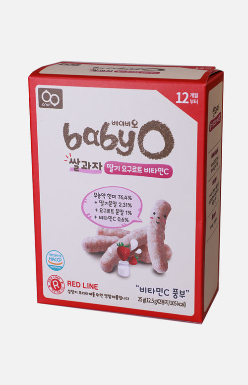 Baby'O Organic Rice Crackers (Strawberry Yogurt+Vitamin C)