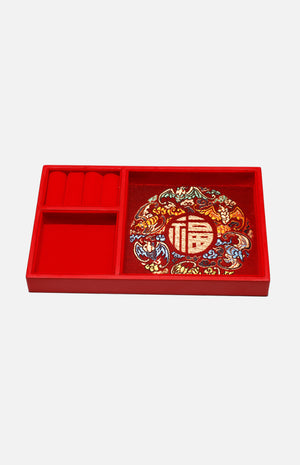 Double-decker Lacquered Jewellery Box with Peony