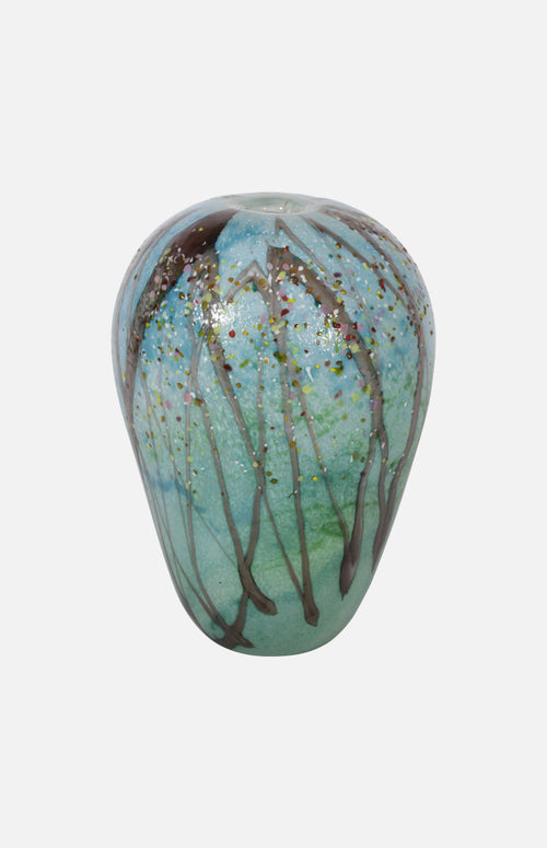 One of Four Seasons Glass Vase (Summer-a hundred flowers bloom)*blue