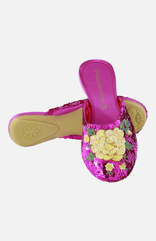 Silk Embroidered Slipper (Beads)