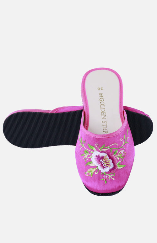 Silk Embroidered Slipper (Big Flower)