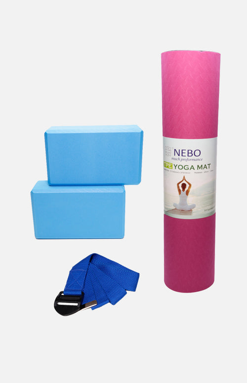 Pack D: NEBO Yoga Mat (Pink)+Strap+2pcs of EVA Brick