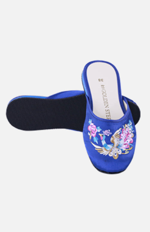 Silk Embroidered Slipper (Peacock)
