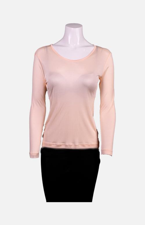 Silkcity Long Sleeves Round Neck Silk Ladies Spencer-Pink