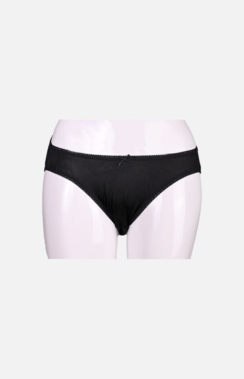 Ladies Low Waist Silk Panties-Black