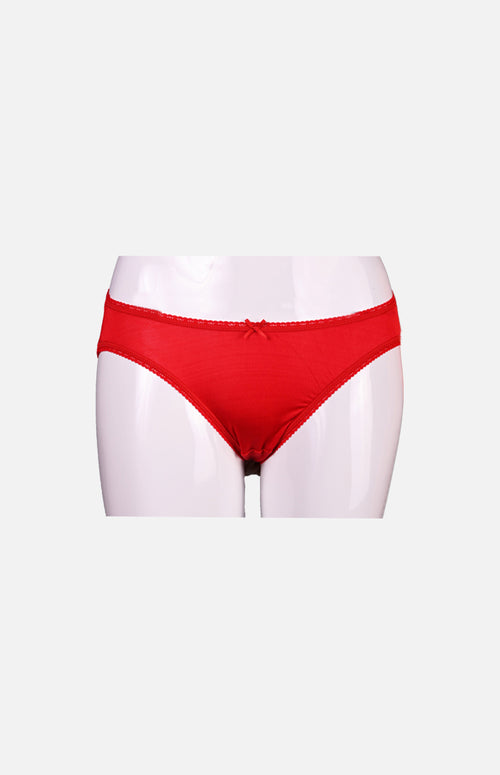 Ladies Low Waist Silk Panties-Red