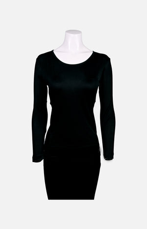 Willy Long Sleeves Round Neck Thick Fabric Silk Ladies Spencer- Black