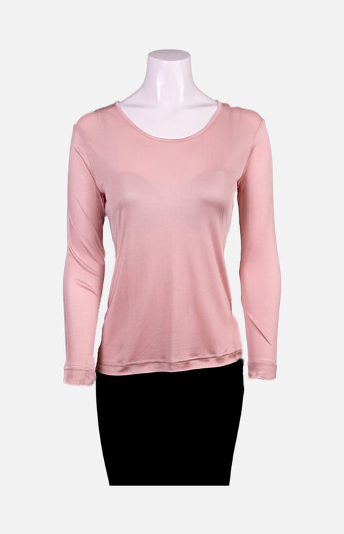 Willy Long Sleeves Round Neck Thick Fabric Silk Ladies Spencer- Pink