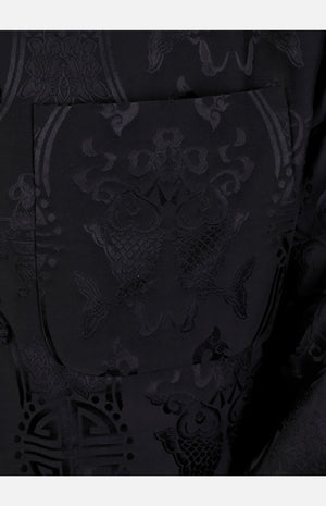 Silk Padded Jacket (Fishes Pattern)-Black