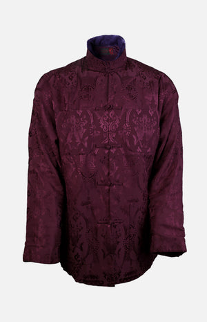 Silk Padded Jacket (Fishes Pattern)-Purple