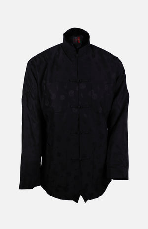 Silk Padded Jacket (Round Pattern)-Black