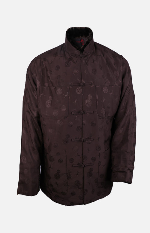 Silk Padded Jacket (Round Pattern)-Brown