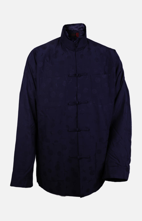 Silk Padded Jacket (Round Pattern)-Navy