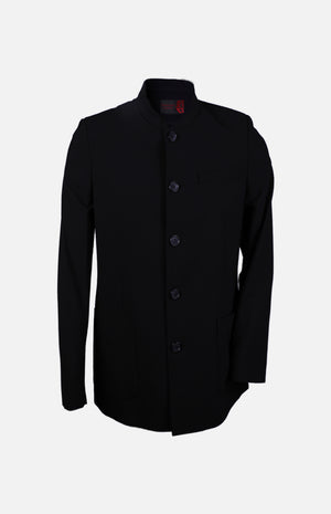 Men's Woollen Chinese Style Jacket-Black