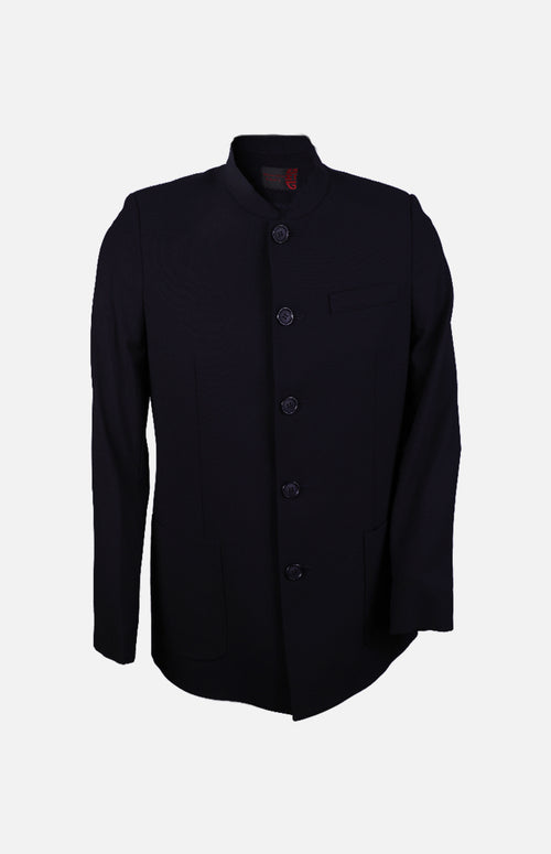 Men's Woollen Chinese Style Jacket-Navy