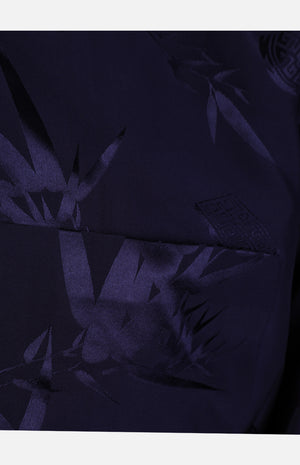 Silk Padded Jacket (Bamboo Leaves Pattern)-Navy
