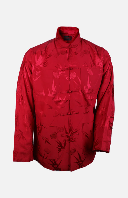 Silk Padded Jacket (Bamboo Leaves Pattern)-Red