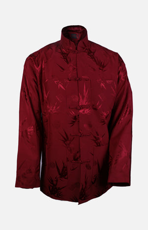 Silk Padded Jacket (Bamboo Leaves Pattern)-Burgundy