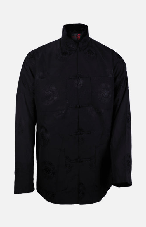 Silk Padded Jacket (Eight Treasures Pattern)-Black