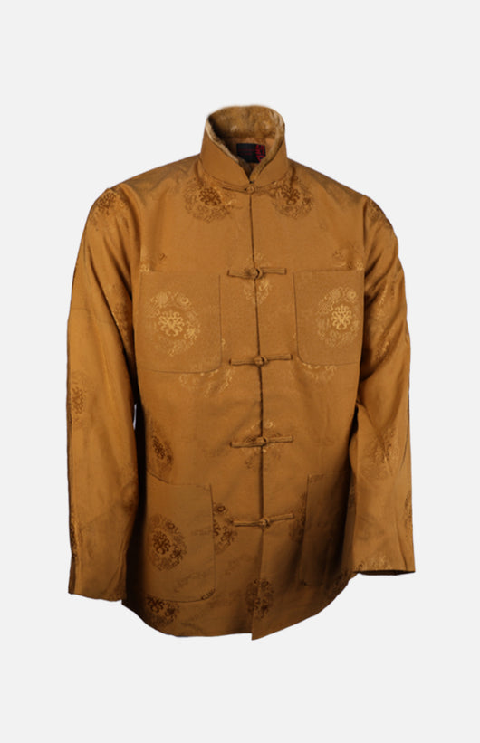 Silk Padded Jacket (Eight Treasures Pattern)-Golden