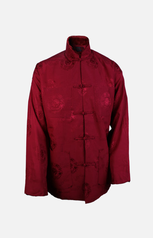 Silk Padded Jacket (Eight Treasures Pattern)-Burgundy