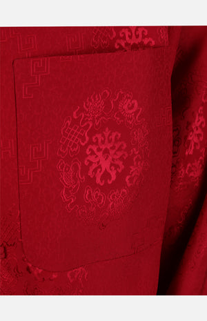 Silk Padded Jacket (Eight Treasures Pattern)-Red
