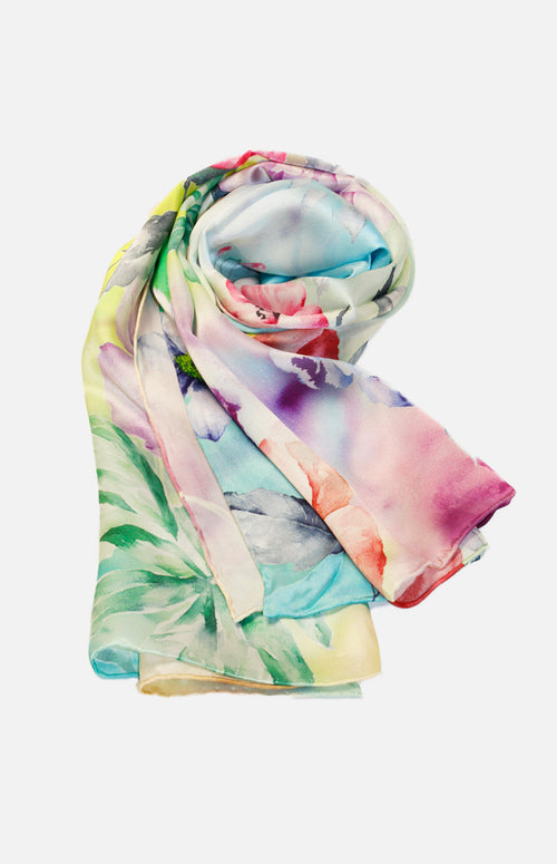 Pure Silk Floral Print Scarf
