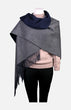 Cashmere Reversible Shawl(Navy/Grey)