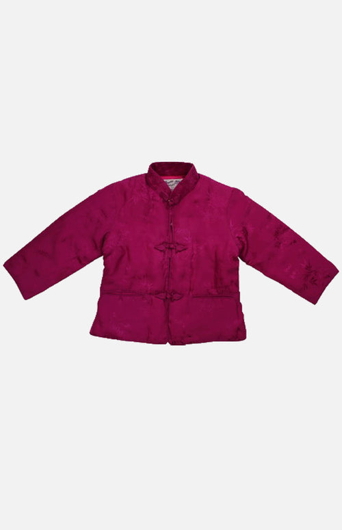 Double Horse Girl's Silk Wadded Jacket(Rose Size 18)