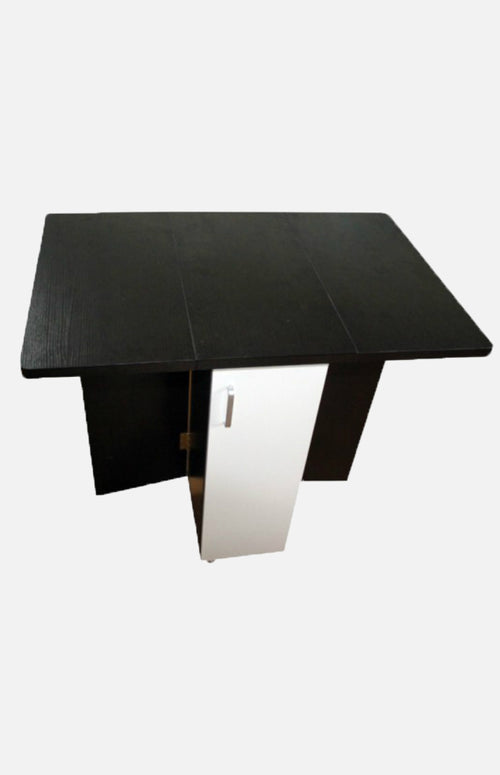 Black-brown & white drop-leaf table