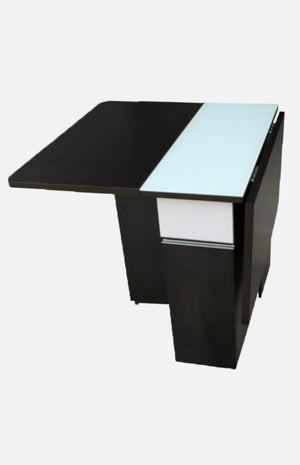Black-brown & white drop-leaf table with glass whiteboard