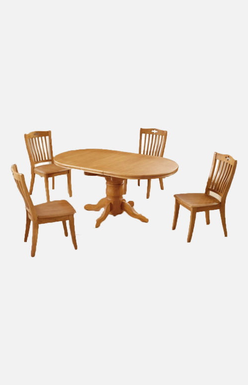 Thailand rubber wood oval-shaped extendable dining table