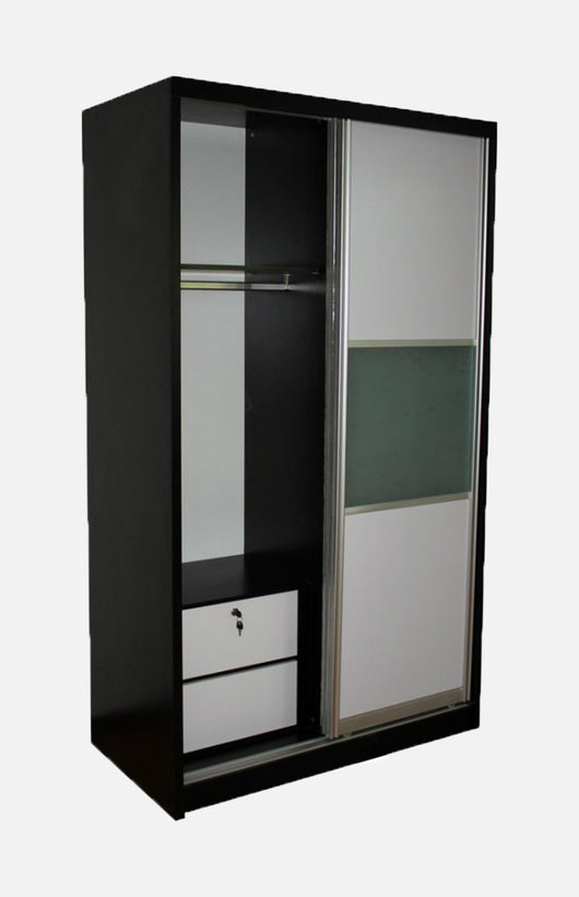 Wardrobe with 2 sliding doors and movable drawers