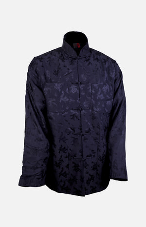 Silk Padded Jacket (Dragon Pattern)-Navy