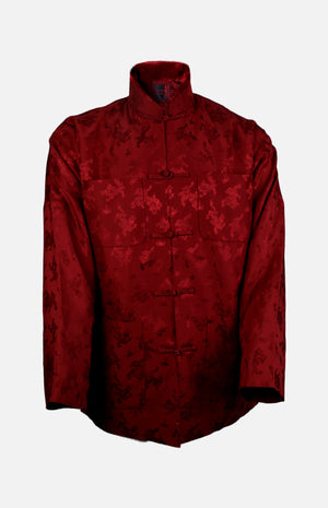 Silk Padded Jacket (Dragon Pattern)-Burgundy