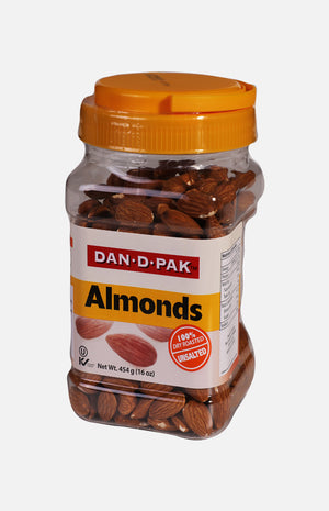 Dan-D Pak Almonds 100% Dry Roasted (Unsalted) (454g)