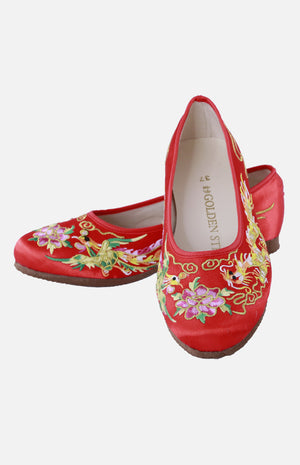 Silk Embroidered Shoe (Dragon & Phoenix)