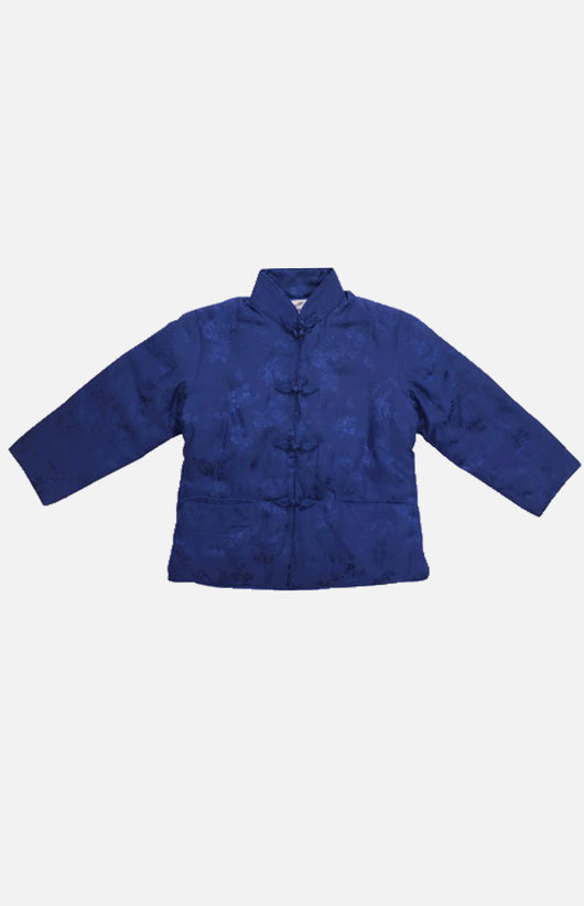 Double Horse Girl's Silk Wadded Jacket(Dark Blue Size 12)