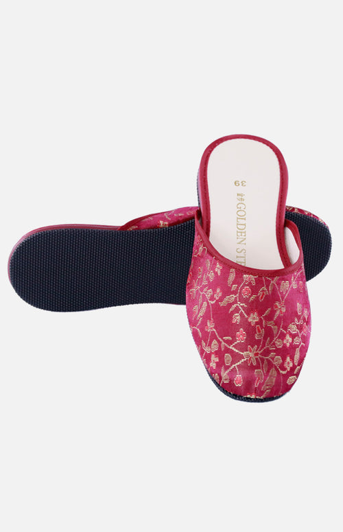 Silk Embroidered Slipper (Golden and Red Small Floral)
