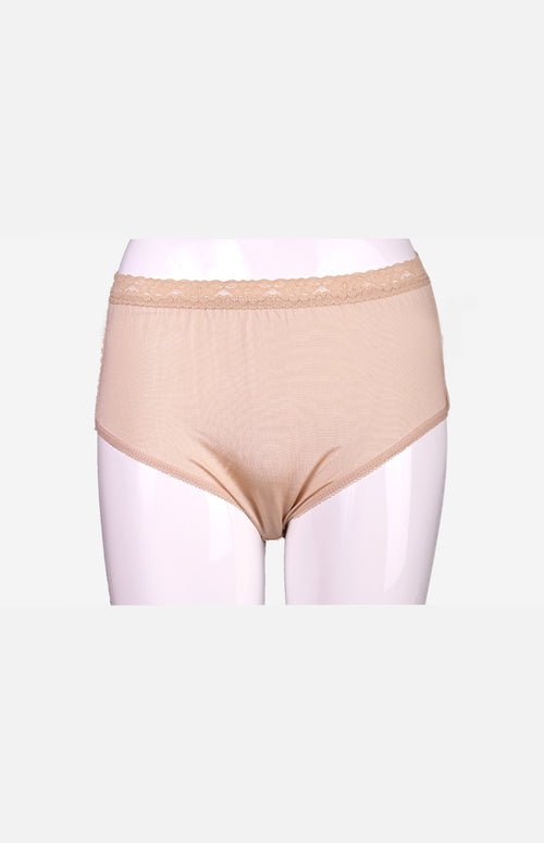 Silkcity Ladies High Waist Silk Panties- Beige