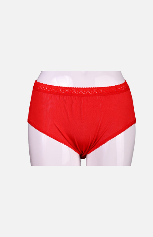 Silkcity Ladies High Waist Silk Panties- Red