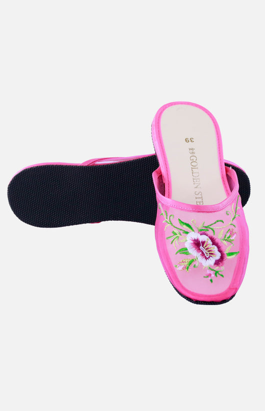 Nylon Embroidered Slipper (Big Floral)