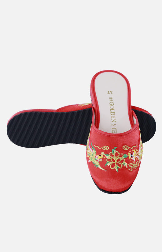 Silk Embroidered Slipper (Dragon & Phoenix)