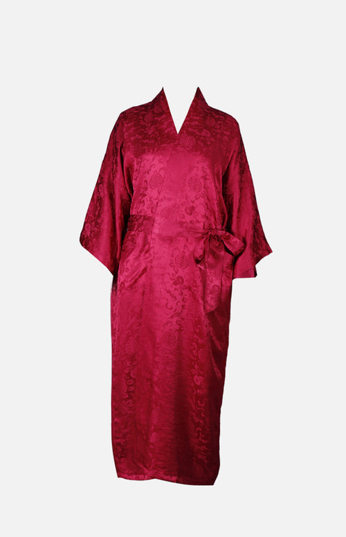 Silk Long Robe with Chinese With Chinese Auspicious Pattern