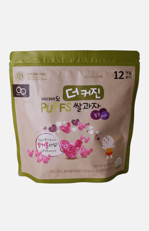 Baby'O Nutrient Heart-Shaped Puff Rice Cracker (Refill Pack) (Blueberry flavour)