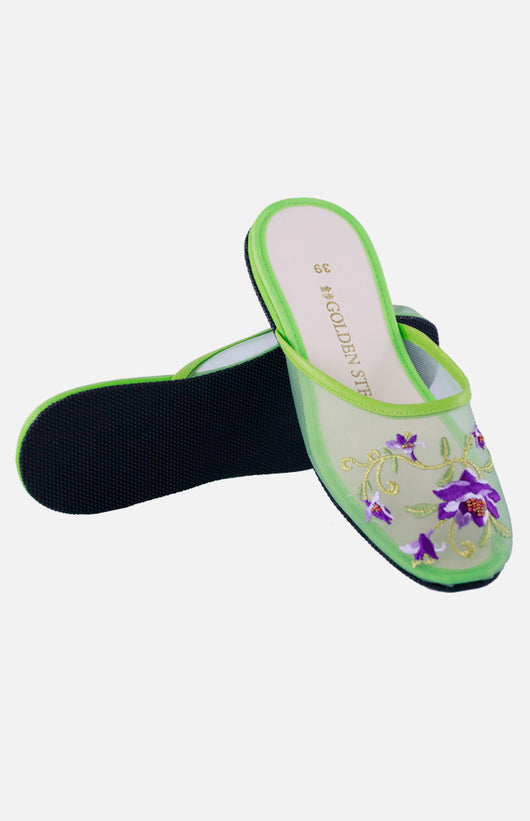 Nylon Embroidered Slipper (Lotus Flower)