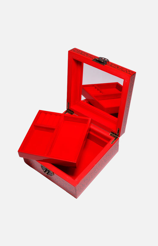 Square Double-decker Lacquered Jewellery Box