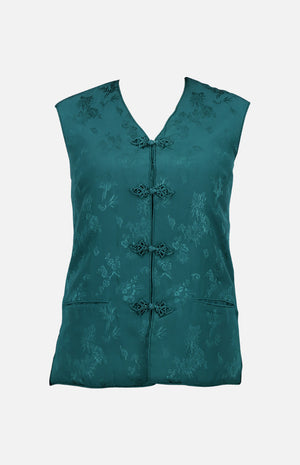 Double Horse Silk Wadded Vest